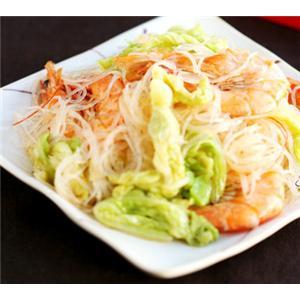 虾炒白菜粉丝