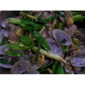辣椒紫苏炒花蛤