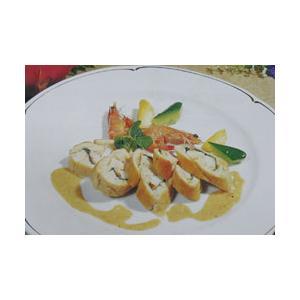 鸡胸明虾卷配奶油明虾汁