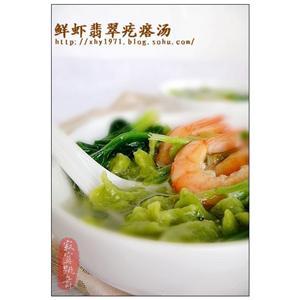 鲜虾翡翠疙瘩汤