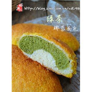 绿茶椰蓉面包