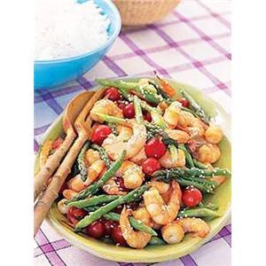 菜花咖哩虾
