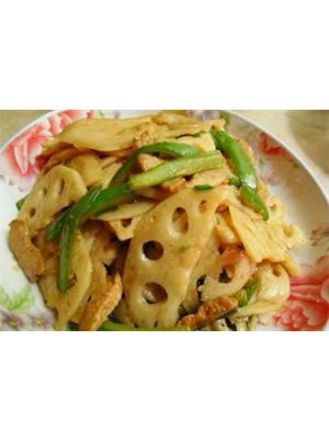 青椒肉片炒脆藕