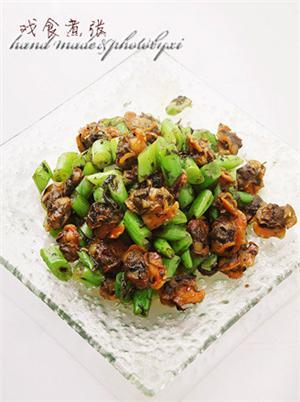 榄菜四季豆炒红螺
