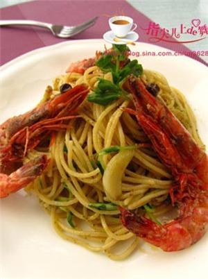 鲜虾热那亚意面