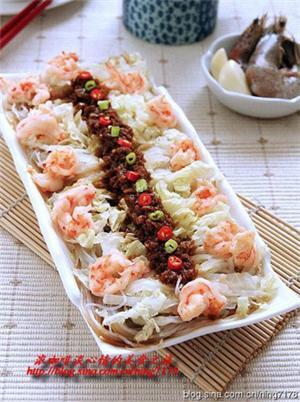 蒜蓉虾球蒸白菜